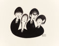 Mainstream Illustration, AL HIRSCHFELD (American, 1903-2003). The Beatles. Ink onpaper. 13 x 15 in. (sight). Signed lower right. ...