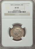 Canada, Canada: Victoria 25 Cents 1892 XF45 NGC,...