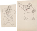 Animation Art:Production Drawing, One Meat Brawl Grover Groundhog Production Drawings OriginalAnimation Art (Warner Brothers, 1947).... (Total: 2 Original Art)