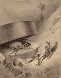 Pulp, Pulp-like, Digests, and Paperback Art, HENRIQUE ALVIM CORRÊA (Brazilian, 1876-1910). MartianEmerges, from The War of the Worlds, Belgium edition,1906. Pe...