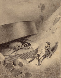 HENRIQUE ALVIM CORRÊA (Brazilian, 1876-1910) Martian Emerges, from The War of the Worlds, Be