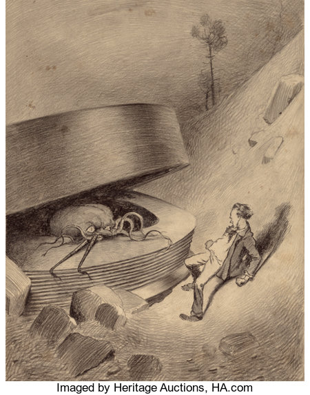 HENRIQUE ALVIM CORRÊA (Brazilian, 1876-1910) Martian Emerges, from The War of the Worlds, Belgium edition, 1906 Pe...