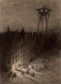 Pulp, Pulp-like, Digests, and Paperback Art, HENRIQUE ALVIM CORRÊA (Brazilian, 1876-1910). Martian ViewingDrunken Crowd, from The War of the Worlds, Belgiumedi...