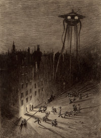 HENRIQUE ALVIM CORRÊA (Brazilian, 1876-1910) Martian Viewing Drunken Crowd, from The War of the Worl