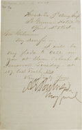 "Autographs:Military Figures, Ambrose E. Burnside Autograph Note Signed, ""A.E. Burnside"", one page, 5"" x 8"", New York, April 4, 1864, to Governor Jose..."