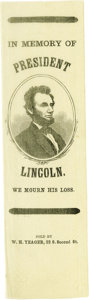 """Political:Ribbons & Badges, Abraham Lincoln Silk Mourning Ribbon. A 3/4 facing portrait of Lincoln is within a wreathed oval border surrounded by """"IN ME..."""