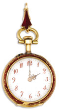 Timepieces:Pendant, Golay Fils & Stahl, French & Swiss, Lady's Diamond, Enamel, Gold Openface Pendant Watch, Circa 1890. Case: 25 mm, double h...