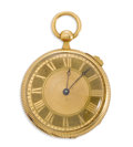 Estate Jewelry:Other , Swiss Gold Openface Key Wind & Set Musical Pocket Watch, circa 1880. Case: 42 mm, hinged, 18k yellow gold circular engine ...