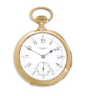 Timepieces:Pocket (post 1900), Audemars Piguet Gold Openface Minute Repeater Pocket Watch, circa 1900. Case: 48 mm, triple hinged 18k yellow gold circula...