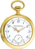 Timepieces:Pocket (post 1900), Patek Philippe Gold Openface Chronograph Repeater Pocket Watch,Circa 1908.. Case: 44 mm, 18k yellow gold, case No. 260265...