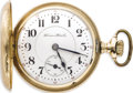 """Timepieces:Pocket (post 1900), Hampden Gold """"Special Railway"""" Hunting Case Pocket Watch, Circa1898. Case: 54 mm, 14k yellow gold, stamped Dubois W. C. C..."""
