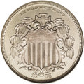 1866 5C Shield Five Cents, Judd-489, Pollock-577, Low R.6--Corroded, Cleaned--ANACS. PR60 Details. The obverse has a shi...