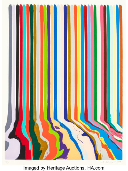 IAN DAVENPORT (British, b. 1966) Etched Lines: Thirty Four, 2008 Etching on paper 27-1/4 x 20-1/2 inches (69.2 x 52.1...