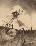 Pulp, Pulp-like, Digests, and Paperback Art, HENRIQUE ALVIM CORRÊA (Brazilian, 1876-1910). Martians on theMove, from The War of the Worlds, Belgium edition,190...