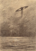 Pulp, Pulp-like, Digests, and Paperback Art, HENRIQUE ALVIM CORRÊA (Brazilian, 1876-1910). Martian FlyingMachine, from The War of the Worlds, Belgium edition,1...