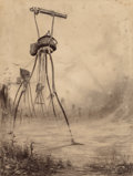 Paintings, HENRIQUE ALVIM CORRÊA (Brazilian, 1876-1910). Martian Gas Cannon, from The War of the Worlds, Belgium edition, 1906...