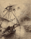 Pulp, Pulp-like, Digests, and Paperback Art, HENRIQUE ALVIM CORRÊA (Brazilian, 1876-1910). Martian FightingMachine in the Thames Valley, from The War of theWorld...