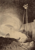 Paintings, HENRIQUE ALVIM CORRÊA (Brazilian, 1876-1910). Martian Viewing Vapor Cloud, from The War of the Worlds, Belgium editi...