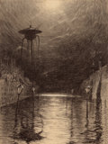 Pulp, Pulp-like, Digests, and Paperback Art, HENRIQUE ALVIM CORRÊA (Brazilian, 1876-1910). Martian MachineOver the Thames, from The War of the Worlds, Belgiume...