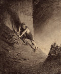 Pulp, Pulp-like, Digests, and Paperback Art, HENRIQUE ALVIM CORRÊA (Brazilian, 1876-1910). FrightenedHuman, from The War of the Worlds, Belgium edition,1906. P...