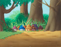 Animation Art:Painted cel background, The Smurfs Smurf Village Painted Master Background(Hanna-Barbera, 1981)....