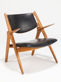 Furniture, HANS WEGNER (Danish, 1914-2007). Sawbuck (lounge chair), circa 1952. Oak, faux leather upholstery. 30-1/4 x 29 x 21-1/4 ...