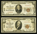 National Bank Notes:Missouri, Hannibal, MO - $10; $20 1929 Ty. 1 The Hannibal NB Ch. # 6635. ...(Total: 2 notes)