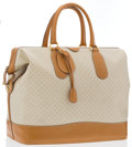 Luxury Accessories:Travel/Trunks, Gucci Cream Monogram Canvas & Brown Leather Travel Bag . ...