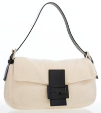 Fendi Cream Woven Baguette with Black Leather Accents