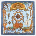 "Luxury Accessories:Accessories, Hermes 90cm Blue & Brown ""Musee,"" by Philippe Ledoux SilkScarf. ..."