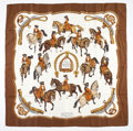 """Luxury Accessories:Accessories, Hermes 90cm Brown & Gold """"Reprise,"""" by Philippe Ledoux SilkScarf. ..."""