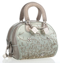 Christian Dior Green Satin, Python & Beaded Gambler Tote Bag