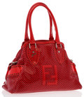 Luxury Accessories:Bags, Fendi Red Perforated Patent Leather Bag De Jour. ...