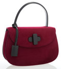 Luxury Accessories:Bags, Gucci Black Leather & Burgundy Wool Top Handle Bag withShoulder Strap. ...