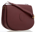 Luxury Accessories:Bags, Cartier Burgundy Leather Crossbody Bag with Gold Hardware. ...