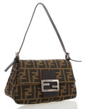 Luxury Accessories:Bags, Fendi Classic Monogram Zucca Canvas Baguette Bag with SilverHardware. ...