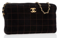 Chanel Black Quilted Square Suede Camera Bag with Brushed Gold Hardware