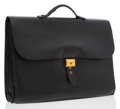 Luxury Accessories:Bags, Hermes 40cm Black Ardennes Leather Sac a Depeches Triple GussettBriefcase with Gold Hardware. ...