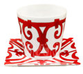 Luxury Accessories:Accessories, Hermes Balcon du Guadalquivir Red Votive with Square Plate no.2....