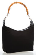 Luxury Accessories:Bags, Gucci Black Nylon Hobo Bag with Bamboo Handle. ...