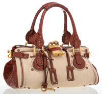 Chloe Beige Canvas with Red Brown Patent Leather Trim Paddington Shoulder Bag Good to Very Good Condition</