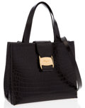 Luxury Accessories:Bags, Salvatore Ferragamo Black Crocodile Embossed Leather Tote Bag. ...
