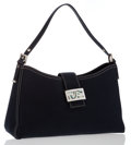 Luxury Accessories:Accessories, Fendi Navy Canvas Shoulder Bag with Enamel Buckle. ...