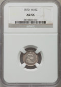 Seated Half Dimes: , 1870 H10C AU55 NGC. NGC Census: (9/251). PCGS Population (13/216). Mintage: 535,000. Numismedia Wsl. Price for problem free...