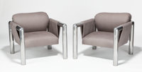 JOHN MASCHERONI (American, b. 1932) Lounge Chair (set of two), circa 1960 Tubular aluminu