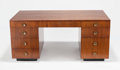 Post-War & Contemporary, GILBERT ROHDE (American, 1894-1944). Executive Desk, circa1942, Herman Miller. Walnut, brass handles. 30-1/4 x 66 x 35-...