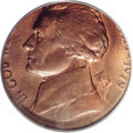 Errors: , 1979 5C Jefferson Nickel--Struck 5% Off Center on a Cent Planchet--MS65 Red and Brown--PCGS. Struck slightly off center tow...