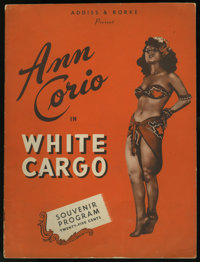 "White Cargo (Stage Production, 1940). Program (16 Pages, 9"" X 12""). Drama"