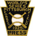 Baseball Collectibles:Others, 1925 World Series Press Pin (Pittsburgh Pirates). Worn plating andenamel imperfections (in the form of chips, bubbles and ...