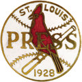 Baseball Collectibles:Others, 1928 World Series Press Pin (St. Louis Cardinals). Spacious fieldsof white enamel are commonly found pink-toned, porous an...